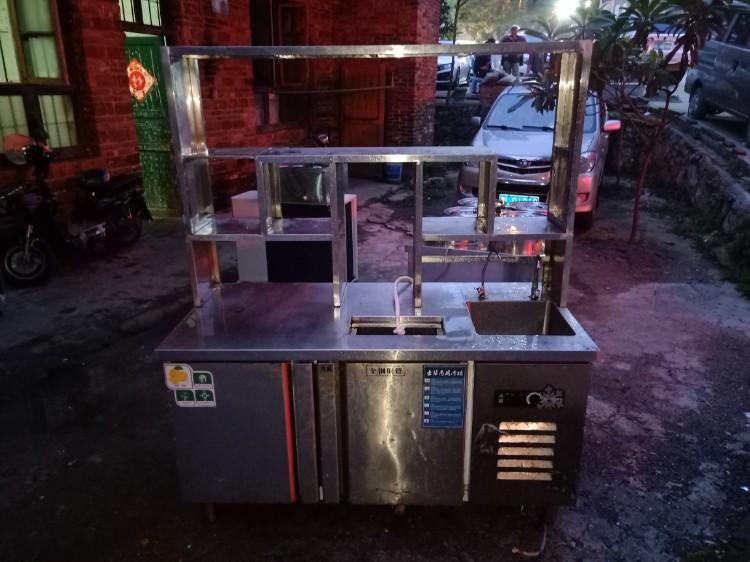 【宏盛达二手电器机电】出售九成新不锈钢加厚冷藏水吧台