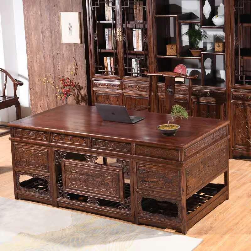 红木办公桌搭配
